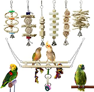BWOGUE 7 Packs Bird Parrot Toys Natural Wood Chewing Toy Bird Cage Toys Hanging Swing Hammock Climbing Ladders Toys for Sm...
