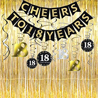 18th Birthday Party Decorations KIT - Cheers to 18 Years Banner, Sparkling Celebration 18 Hanging Swirls,Gold Foil Fringe Curtain, Perfect 18 Years Old Party Supplies 18th Anniversary Decorations