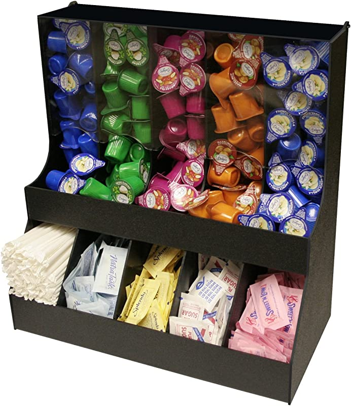 Large Professional Coffee Condiment Organizer 18 Wide With 5 Gravity Columns With Lid 5 Compartments For Sugars Creamers 18 1 2 W X 16 High Made In The USA By PPM