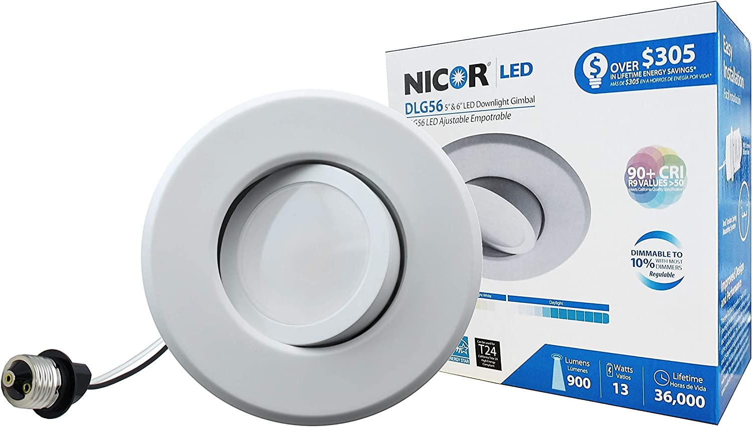 NICOR Lighting 5 6-Inch Dimmable 2700K LED Gimbal Recessed Downlight, White (DLG56-10-120-2K-WH)