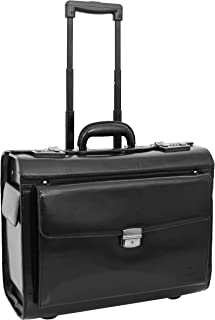 Real Leather Pilot Case Wheeled Laptop Bag Business Hand Luggage Chester Black