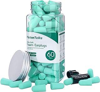 comprar comparacion Tapones Oídos Espuma 60 Pares-ValueTalks Tapones para Dormir,Protección Auditiva SNR 34 dB con Estuche de Aluminio para Do...