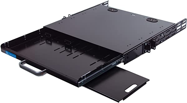 IAENCLOSURES RSF1111BK21R2K1 1U Compact Rack Mount Keyboard Drawer With Retractable Mouse Pad For Right Or Left Hand Operator Supports 2 Post Center Mount 19 Inch Relay Rack Cabinet