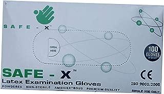 Safe X Disposable Latex Medical Examination Gloves (100Pcs)| Powdered, Non Tearable, Made In Malaysia (Medium)