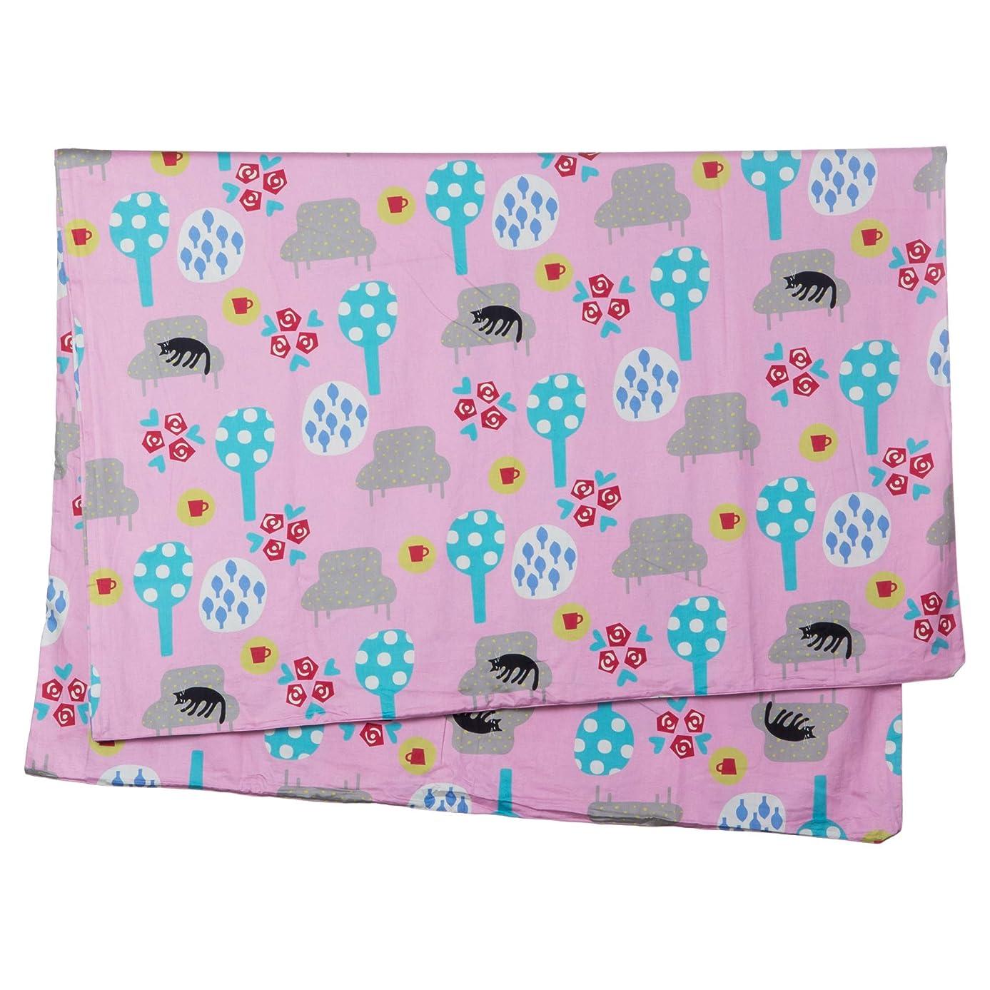 類似性ふつうラビリンス西川(Nishikawa) 掛け布団カバー ピンク シングル マタノアツコ 夢見る猫 綿100% 日本製 着脱簡単 PI09700633P