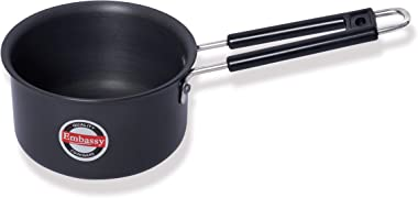 Embassy Hard Anodised Sauce Pan, 0.8 Litre (Size 9, 14 cms), Gas Stovetop Compatible, Black