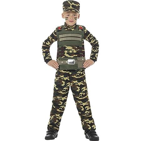 Smiffys Costume Militare mimetico da ragazzo, verde, con top, pantaloni e cappello