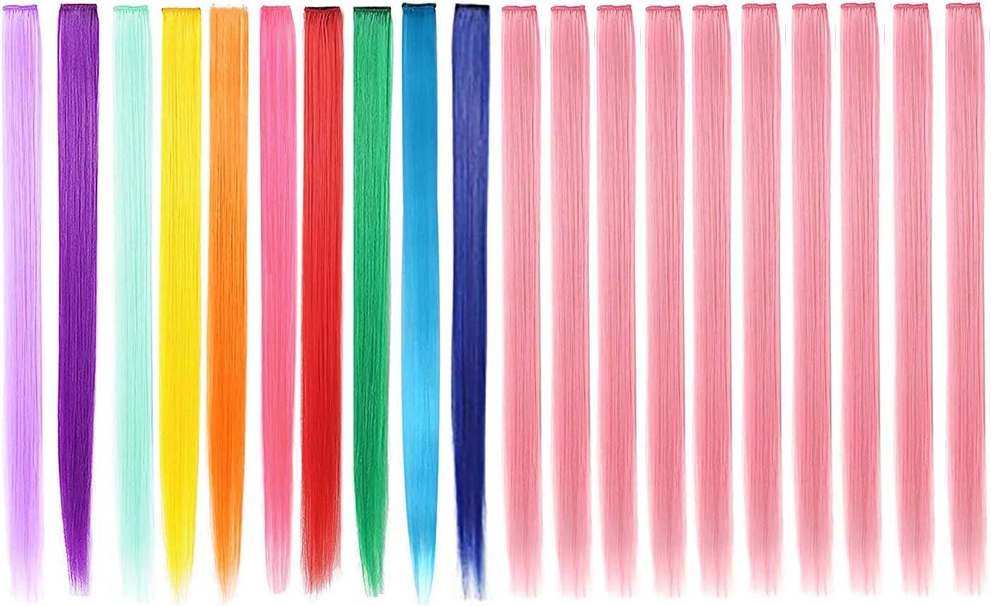 20 extensiones de cabello de colores, destacando el cabello largo y recto de 22 pulgadas para niñas, accesorios para el cabello de moda