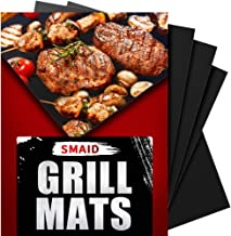 SMAID Grill Mat Non-stick BBQ Grill Baking Mats - FDA-Approved, Reusable and Easy To Clean - Works On Gas, Charcoal, Electric Grill and More - 15.75 x 13 Inch, Set of 4