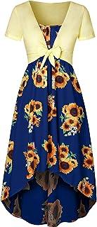 ReooLy Women's Plaid Long Sleeve Empire Waist Full Length Maxi Dress with Pockets