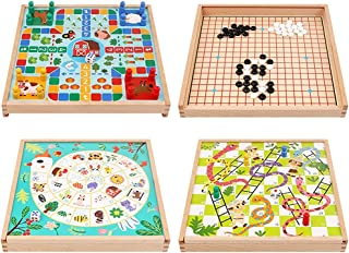 4 in 1 Wooden Ludo Board Game Flying Chess Chinese Checkers Gobang Snakes and Ladders Goose Chess Board Set Kid Family Toy