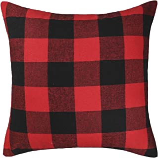 4TH Emotion 24 x 24 Inch Christmas Red and Black Buffalo Check Plaid Throw Pillow Case Cushion Cover Holiday Decor Cotton Polyester for Sofa