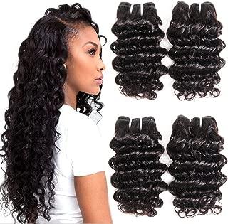 7A Grade Brazilian Human Hair Deep Wave 4 Bundles 100% Unprocessed Virgin Brazilian Deep Curly Hair Weave Bundles Natural Color Total200g (8888, Natural black)