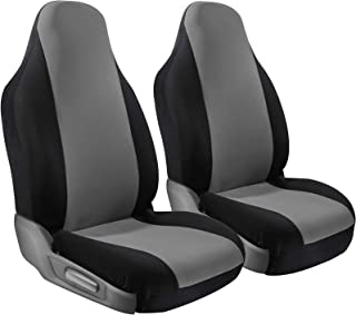 Car Seat Cover Protectors - Grip Control Non-Slip Poly Cloth with Two-Toned Front Low Bucket Seats Only - Universal Fit for Automotive Vehicles Cars, Trucks, SUVs, Vans -Black and Gray 2 Piece Set
