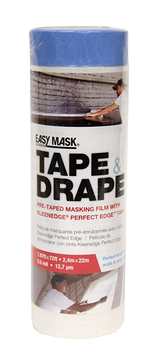 Trimaco 396490 Easy Mask Tape & Drape Pre-Tape Masking Film with 14 day Blue PerfectEdge Tape, 2.4m x 22m