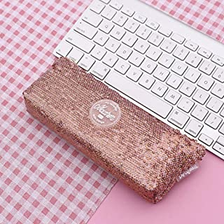FairOnly Sequins Inverted Trapezoidal Shape Pencil Case for Stationery File Storage Brown