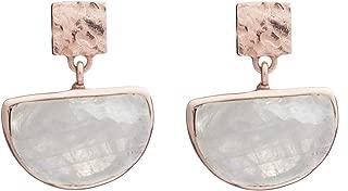 Skylar Half Moon Dangle Earrings in Moonstone and Rose Gold Plated