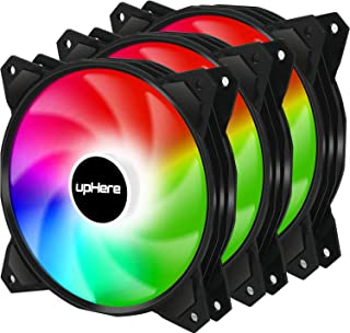 upHere 120mm PWM Rainbow LED Silent Fan for Computer Cases,CPU Coolers,Low Noise Case Fan(PF120CF4-3)