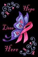 Toland Home Garden Hope Lives Here 12.5 x 18 Inch Decorative Breast Cancer Support Ribbon Awareness Garden Flag