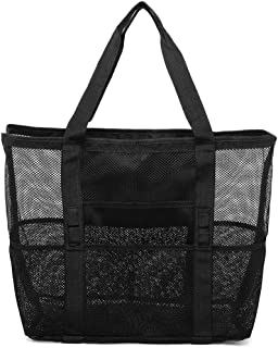 Mesh Beach Bag, Cambond Oversized Beach Tote Bag 9 Pockets Beach Toy Bag, Large (Black)