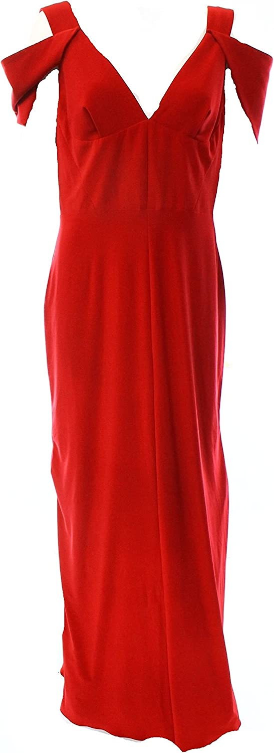 Betsy & Adam Womens Double V Prom Evening Dress, Red Size 12