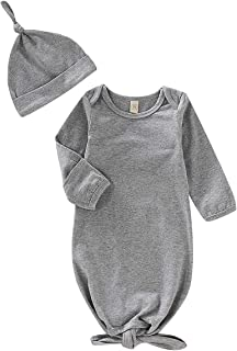 CARETOO Newborn Baby Girls Boys Cotton Sleeper Gown, Unisex Nightgown Knotted Home Outfit