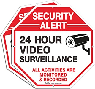 """Video Surveillance Signs (2 Pack), 12"""" x 12"""" Rust Free .040 Aluminum Security Warning Reflective Metal Signs, Indoor Or Ou..."""