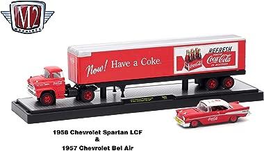 M2 Machines 1958 Chevrolet Spartan LCF and 1957 Chevrolet Bel Air (Coke Red & White Top) Auto-Haulers Coca-Cola Release 1 Castline 2018 Premium Edition 1:64 Scale Die-Cast Vehicle Set (50B01 18-03)