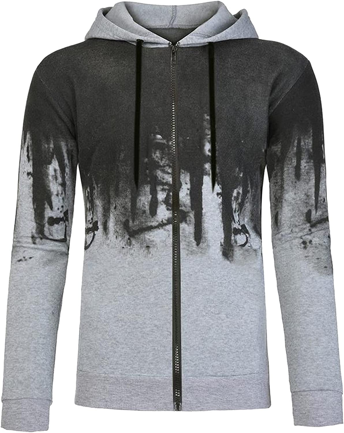 Men's Zipper Printed Pullover Tops Ink-Splash Printed Pullover Long Sleeved Casual Hooded Top Blouse Japanese Sweater