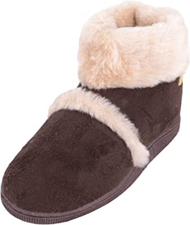ABSOLUTE FOOTWEAR Womens Slip On Slipper Bootee/Booties with Faux Fur Trim