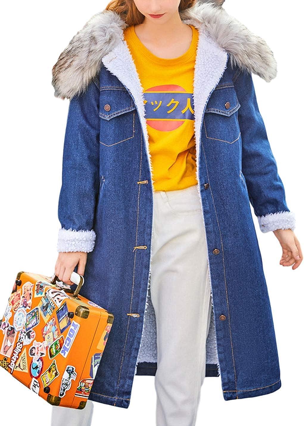 Omoone Women's Button Up Lapel Sherpa Fleece Lined Midi Long Denim Oversized Overcoat