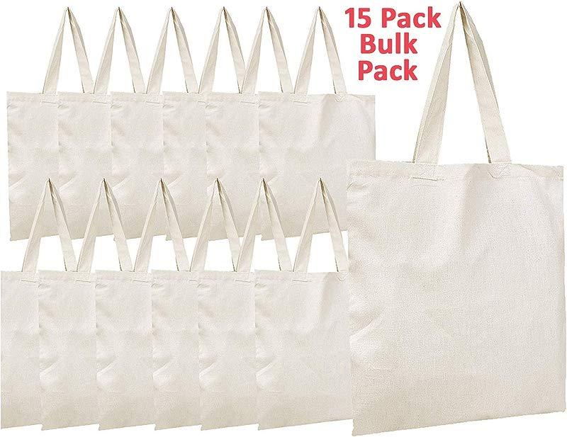 Simpli Magic 79163 Canvas Tote Bags 11 X 13 Pack Of 15 Natural