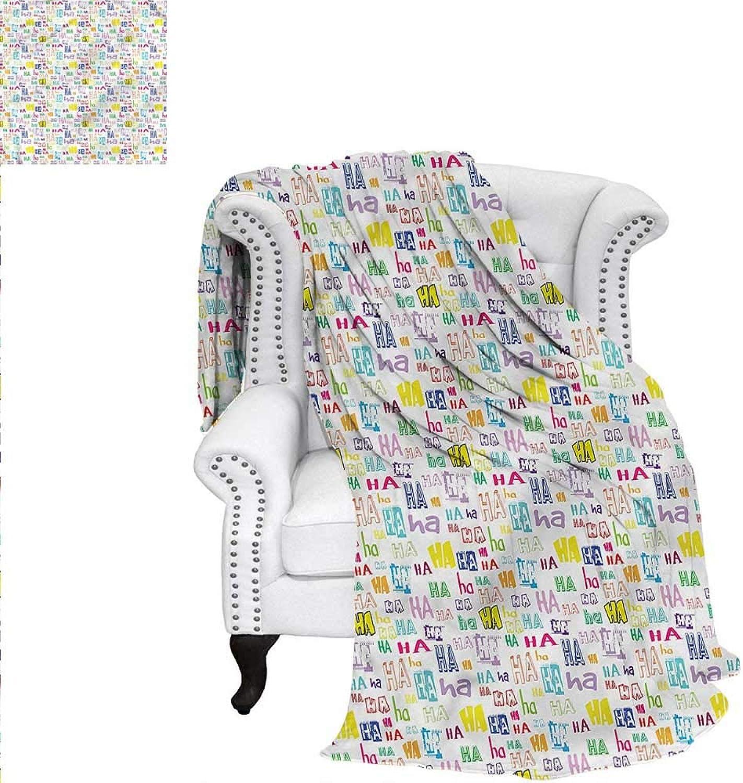 RenteriaDecor Fun Travel Throw Blanket Haha Quote Positivity Happiness Velvet Plush Throw Blanket 60 x50