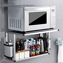 Kitchen Storage Rack Double-Layer Wall-Mounted Microwave Holder • 304 Stainless Steel Spice Rack for Kitchen, Storage