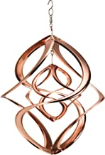 Wind & Weather, Copper-Plated Dual Spiral Hanging Metal Wind Spinner, Outdoor Décor, Spinning Inner and Outer Spirals, Durable and Lightweight Construction, Easy to Hang, 14
