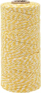 Just Artifacts ECO Bakers Twine 240-Yards 4Ply Striped Lemon Yellow - Decorative Bakers Twine for DIY Crafts and Gift Wrapping