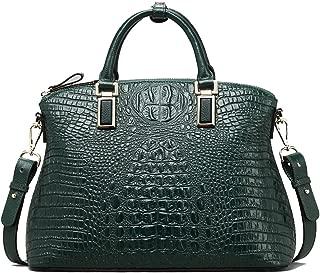 Women Top-Handle Bags Genuine Leather Handbags Embossed Crocodile Full Grain Cowhide Evening Purse