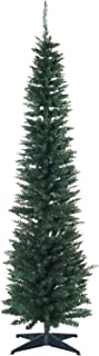 HOMCOM 7' PVC Unlit Slim Pencil Hinged Artificial Noble Fir Christmas Tree with Metal Stand, 390 Branch Tips - Green