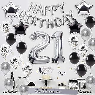 21st birthday party decorations silver – HAPPY BIRTHDAY balloon, Twenty-one cake topper,21 balloon, finally twenty-one sash, star balloon,18 latex balloons,21 birthday supplies for Boy/Girl, Women/Men