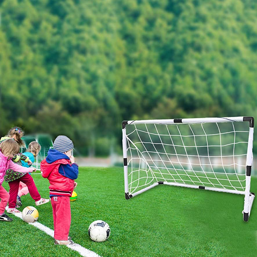Salaks [US Stock Children Soccer Goal - Premium Portable Assembly Soccer Goal Sets - Kids Sport Activity, Practice Size Equipment - Endless Fun and Game Time Indoor and Outdoor