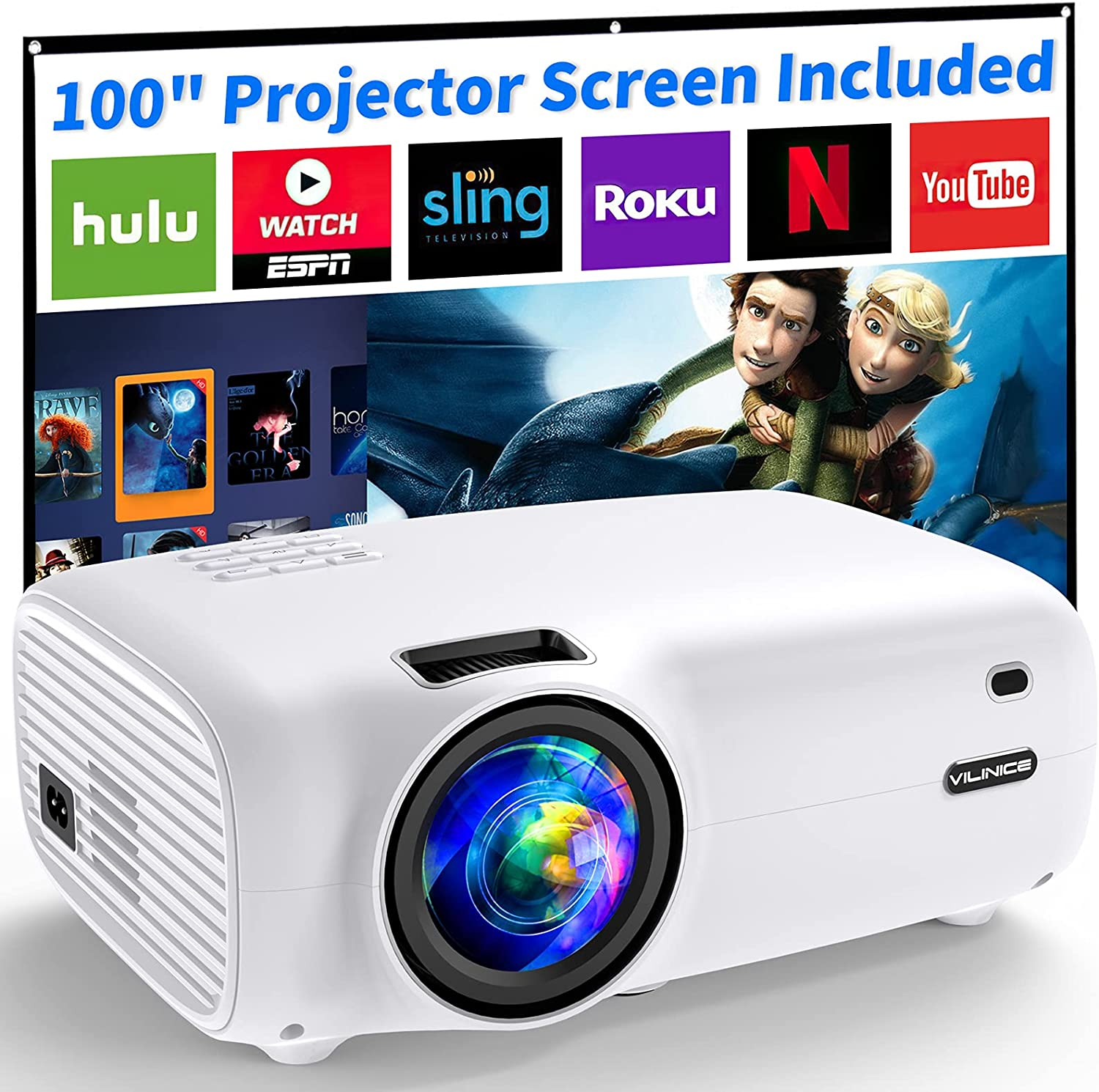 Projector 1080P Supported, ViliNice 6500Lumens Mini Projector Full HD Video Projector, Home Movie 240