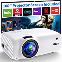 Projector, Vili Nice 6500 Lux Mini Projector with Screen, 100,000 Hours Video Projector, Support 1080P Full HD 200'' Displ...