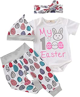 Baby Girl My First Easter Outfit Newborn Infant Baby Girl Boy Bunny Onesie Bodysuit Tops+Eggs Pants Hat Clothes Set