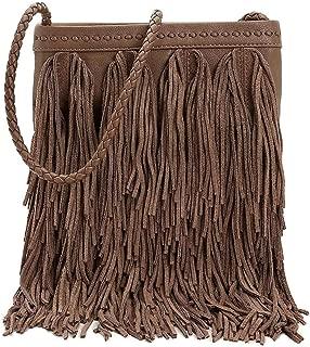 Sam Edelman Womens Jane Leather Fringe Crossbody Handbag Taupe Medium