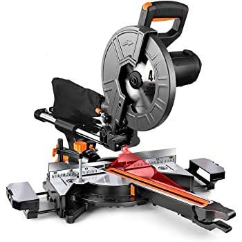 Compound Miter Saw, TACKLIFE 10-Inch Sliding Miter Saw, with Double Speed (4500 RPM & 3200 RPM), 15 Amp Motor, Bevel Cut (0°-45°), 3 Blades, Red Laser, Extension Table, Iron Blade Guard - EMS01A