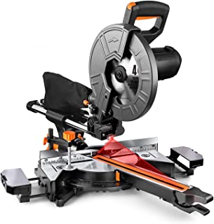 TACKLIFE 10-Inch Sliding Compound Miter Saw, 15 Amp Motor with Double Speed (4500 RPM & 3200 RPM), 3 Blades, Bevel Cut (0°...