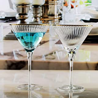 Circleware 76846 Tiara Gold Rim Optic Martini Wine Glasses, Set of 4 Home and Kitchen Entertainment Drinking Glassware for Water, Juice, Beer and Bar Liquor Dining Decor Beverage Gifts, 11.2 oz, Clear