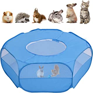 lzndeal Small Animal Playpen,Breathable Pet Playpen Cage Tent with Zippered Cover Outdoor/Indoor Portable Fence Tent for P...