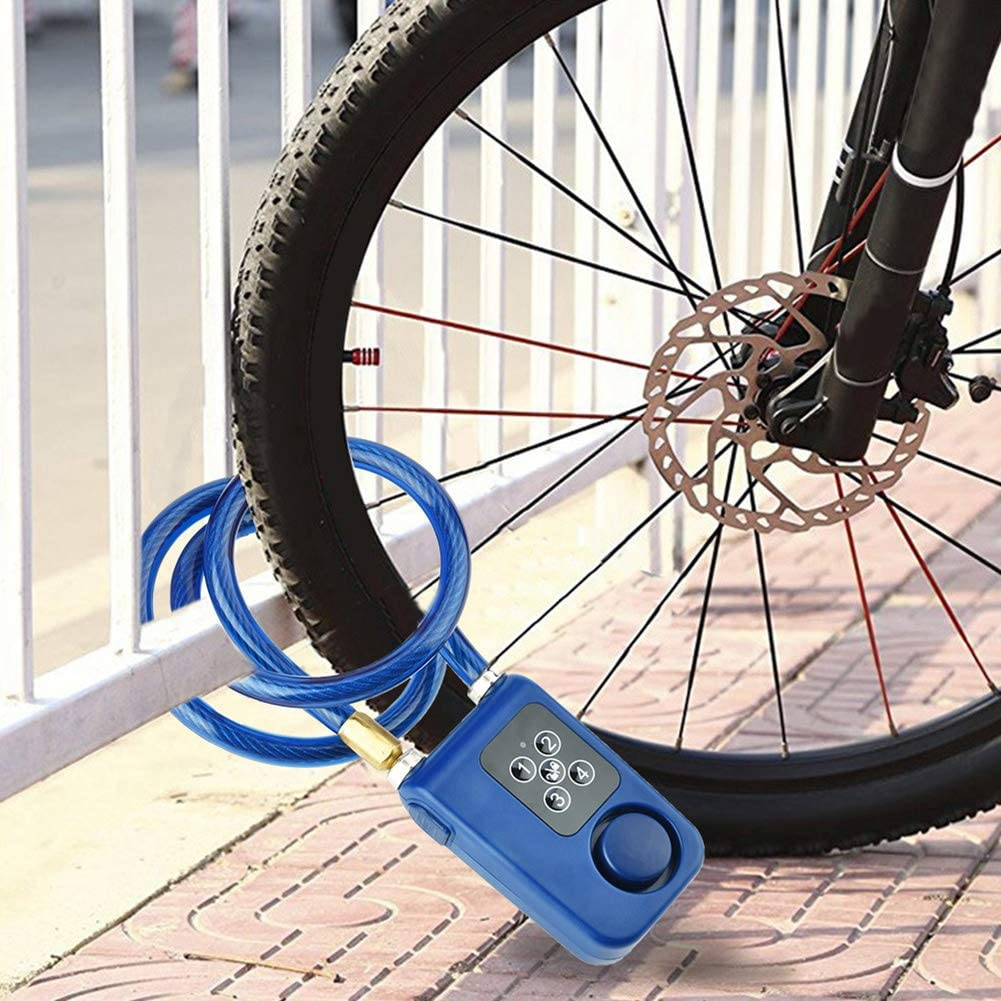 Bike Lock,Anti-Theft Security Wireless Remote Control Alarm Lock 4-Digit Password LED Indication IP55 Waterproof for Indoor and Outdoor use