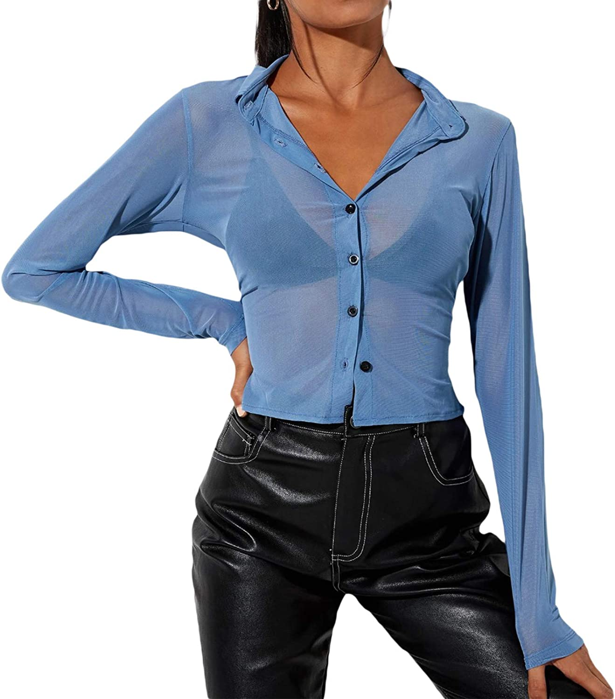 Women 's Sexy Sheer Mesh Shirt Y2K Long Sleeve Button Down Crop Top Elegant Lapel See Through Blouse Top